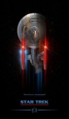 Star Trek Yesterday's Enterprise, by Lewis Niven Star Trek Enterprise, Nave Enterprise, Star Trek Starships, Star Trek Wallpaper, Star Wars, Star Trek Tos, Deep Space Nine, Star Trek Gifts, Star Trek Posters