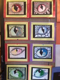 Dragon eyes - could do with yrs. Classe D'art, 7th Grade Art, Middle School Art Projects, Ecole Art, Art Curriculum, Art Lessons Elementary, Art Lesson Plans, Art Classroom, Art Plastique