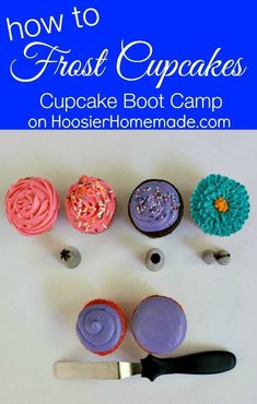 How to Frost Cupcakes   Cupcake Decorating Tips on HoosierHomemade.com