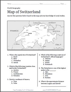 Worksheet Physical Geography Worksheets india map and worksheets on pinterest switzerland worksheet free to print pdf file with six questions