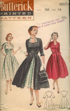 Butterick 6815 A - Vintage Sewing Patterns - Wikia Source by ambermiddaugh Kleider Retro Mode, Vintage Mode, 1950s Style, Vintage Outfits, Vintage Dresses, 1950s Dresses, Floral Dresses, Vintage Dress Patterns, Clothing Patterns