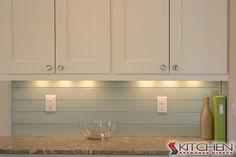 These cabinets have an under cabinet light railing that provides additional task lighting. Kitchen Redo, Kitchen And Bath, Kitchen Ideas, Kitchen Designs, Country Kitchen Backsplash, Kitchen Upgrades, Kitchen Witch, Kitchen Remodeling, Kitchen Stuff