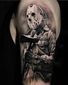 Evil Tattoos, Skull Tattoos, Forearm Tattoos, Body Art Tattoos, Chucky Tattoo, Horror Movie Tattoos, Criminal Tattoo, Spartan Tattoo, Friday The 13th Tattoo