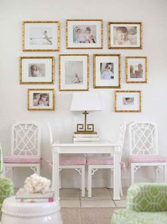 Use one type of frame in different sizes + photos with similar coloring for a subtle, clean gallery | 32 Creative Gallery Wall Ideas To Transform Any Room