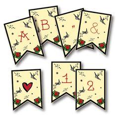 Rockabilly Banner - Alphabet and Numbers   Vintage Loves RosesVintage Loves Roses