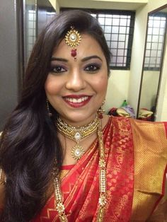 620a12602af South Indian reception look 😌😌 Reception, Sari, Indian, Drop Earrings,  Fashion