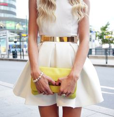 white dress + metal belt