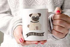 Une tasse de café Pug vie chien une tasse de café  par FoxyMug