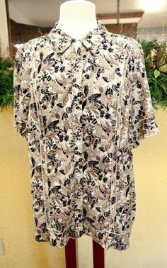 CJ Banks Floral Linen Blend Blouse Shirt 2X Party Fun Cute Wear w/Slacks Plus #CJBanks #Blouse #CareerCasual