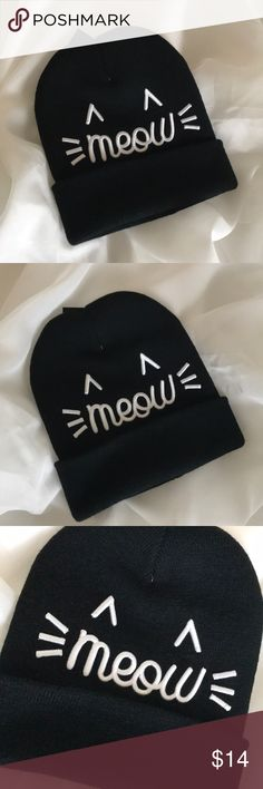 Adorable Meow Black Beanie❤️ Black beanie with print Meow perfect for a great cool get up outfit anywhere❤️ David Accessories Hats