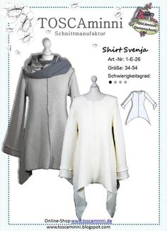 1E26 EBook Damenshirt Svenja Gr 34-54 - Longshirt von TOSCAminni Schnittmuster & Ebooks auf DaWanda.com