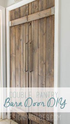 DOUBLE PANTRY BARN DOOR DIY – UNDER $90. Laundry pocket door idea!!!