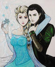 Loki X Elsa by CrossoverFanArt.deviantart.com on @deviantART