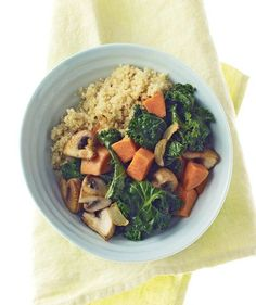 Quinoa With Mushrooms, Kale, and Sweet Potatoes | Get the recipe for Quinoa With Mushrooms, Kale, and Sweet Potatoes.