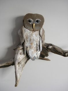 Driftwood Owl Sculpture by woodswise on Etsy