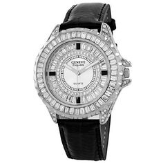 Geneve Elegante Unisex 5154_black Swarovski Crystal Leather Watch Geneve Elegante. $60.00. Save 33% Off!