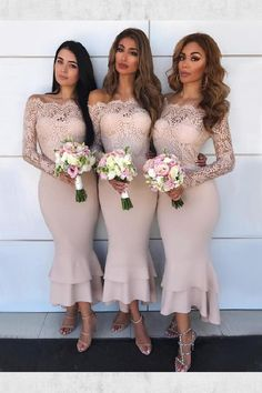 Mermaid Off-the-Shoulder Long Sleeves Blush Bridesmaid Dress with blush bridesmaid dresses long - Bridesmaid Dresses Blush Bridesmaid Dresses Long, Beautiful Bridesmaid Dresses, Bridesmaid Dresses Online, Beige Dresses, Lace Bridesmaid Dresses, Wedding Party Dresses, Dresses Dresses, Sleeve Dresses, Long Dresses