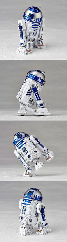 """Revoltech's Star Wars Line Rolls Along With R2-D2  The Star Wars line of figures by Revoltech gets a new addition in the form of R2-D2.  This little droid is almost 4″ tall, comes with an add-on pull-back action attachment so he can scoot around, and his """"eye"""" light changes color as you turn his head. He also has flexible ankles, which opens up your posing possibilities. Read More: http://nerdapproved.com/toys/revoltechs-star-wars-line-rolls-along-with-r2-d2/"""