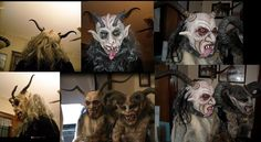 Paper mache masks made on bicycle helmets,with hair and glass eyes, and some real horns, these are called Krampus or Perchten in Austria they carve the masks out of wood, I make them out of paper mache! Mask Making, Making Out, Krampus Mask, Pagan Festivals, Paper Mache Mask, Dark Christmas, Winter's Tale, Clays, Green Man