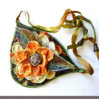 Fiber Art Bib Textile Art Beaded Pendant Fashion Collar Wearable Art Autumn Flair