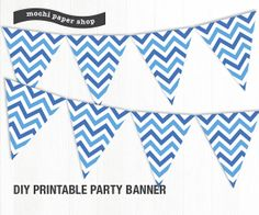 Blue Chevron Banner Printable / Birthday Banner by MochiPaperShop, $3.75