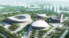 Photo © gmp Architekten Construction work on the SIP Sports Centre has started in the Chinese city of Suzhou. The multi-functional sports center in Suzhou