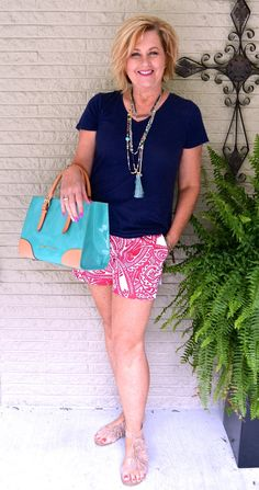 50 IS NOT OLD   BLESS YOUR HEART   Summer   Shorts   Plunder Jewelry   Turquoise   Fashion over 40 for the everyday woman. #plunder #dooney&bourke #over40