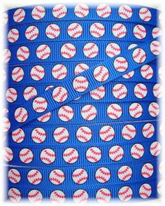 BASEBALL TEAM ROYAL Baseball grosgrain ribbon   by omygoshgoodies @n