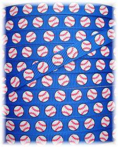 BASEBALL TEAM ROYAL Baseball grosgrain ribbon   by omygoshgoodies, $3.75