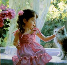 Children Paintings by Vladimir Volegov. Born in Chabarovsk, Russia, Vladimir began painting at the age of three. After having attended the art school, and Vladimir Volegov, Illustration Art, Illustrations, Beautiful Paintings, Belle Photo, Cat Art, Love Art, Painting & Drawing, Art For Kids