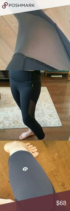 Lululemon Mesh Crop Like new condition, no flaws. Made of luxtreme material and has mesh for ventilation. Has side zippered pockets. lululemon athletica Pants Ankle & Cropped