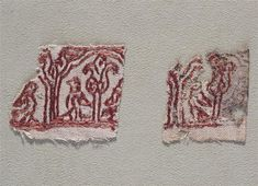 12th century CE embroidery fragments.  In the Musée de Cluny (National Museum of the Midle Ages, Paris).