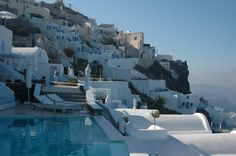 Awww... Santorini! If you have never been, GO!  It's gorgeous and well worth the LONG flight! :)