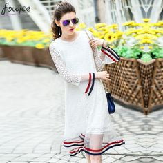 2017 New Arrival Lace Striped Patchwork Women Spring Summer Dress Flare Sleeve Hollow Out Female Elegant Long Dresses