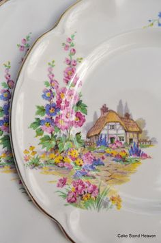 Love, love, love--so perfect for Hollyhock Cottage! Gorgeous hollyhocks pattern vintage tea and cake plate by Johnson Bros. by sybil Tea Sets Vintage, Vintage Plates, Vintage China, Vintage Teacups, Vintage Pyrex, Antique Dishes, Vintage Dishes, China Patterns, Vintage Patterns