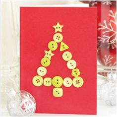 This card craft is about making a greeting card with coat buttons as Christmas tree.  Christmas Card Craft Idea #Christmas #Parenting PARENTING HEALTHY BABIES