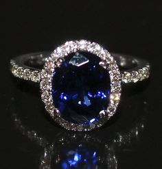 Stunning 4.00Ct Oval Shaped Blue Sapphire and Diamond Engagement Ring 18K Gold #SolitairewithAccents