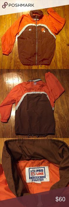 Vintage Cleveland NFL Starter Jacket Brown/Orange RARE Vintage 90's Cleveland Browns NFL Pro Line Starter Jacket. Brown and Orange. Men's size Large. In excellent vintage condition. Has two pockets on exterior and a hood tucked into the zippered back collar. Wind and Rain resistant. Unique Find!! Bundle and Save $$$. Measurements  Shoulders: 24 in Chest: 25 in Length: 31 in Sleeves: 22 in. (From Seam) Waist: 23 in across (46 around) Vintage Jackets & Coats Windbreakers
