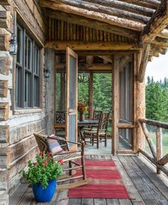Breathtaking rustic mountain home in Big Sky: Ansel Haus-SR I love square logs and the screen porch. Cabin Porches, Farmhouse Front Porches, Rustic Farmhouse, Rustic Porches, Rustic Pergola, Screened Porches, Rustic Cottage, Rustic Outdoor, Farmhouse Ideas