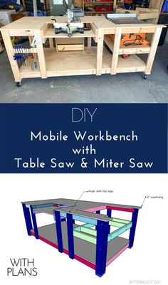 DIY Mobile Workbench with Table Saw & Miter Saw | Garage Workbench Plans, Table Saw Workbench, Building A Workbench, Mobile Workbench, Woodworking Bench Plans, Woodworking Workbench, Woodworking Projects Diy, Workbench Ideas, Miter Saw Table
