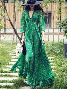 Women Green Casual V-Neck Elegant Beach Maxi Long Dress
