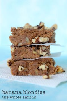Banana Blondies from the Whole Smiths. A great way to use up old bananas. Grain and gluten-free, paleo friendly. A must Pin healthy treat!