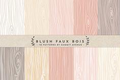 Blush Faux Bois Woodgrain papers by Summit Avenue on Creative Market