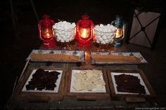 using red lanterns for light at table