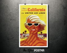 1970s Southern California via United Air Lines - Artist: Stan Galli - Vintage Poster // High Quality Fine Art Reproduction Giclée Print by TheRetroPoster on Etsy