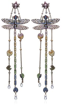 Lydia Courteille 18K White Gold Kites Earrings With Sapphires And