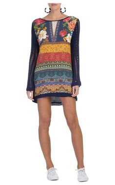 Vestido tricô jardim místico - marinho
