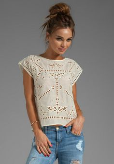 GREYLIN Bianca Embroidered Top in Ivory at Revolve Clothing - Free Shipping!