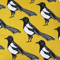 Yellow Magpie Fabric- Upholstery fabric for that statement chair I'll own.
