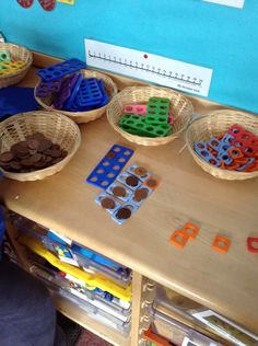 Reception children used Numicon to support with counting different value coins independently.
